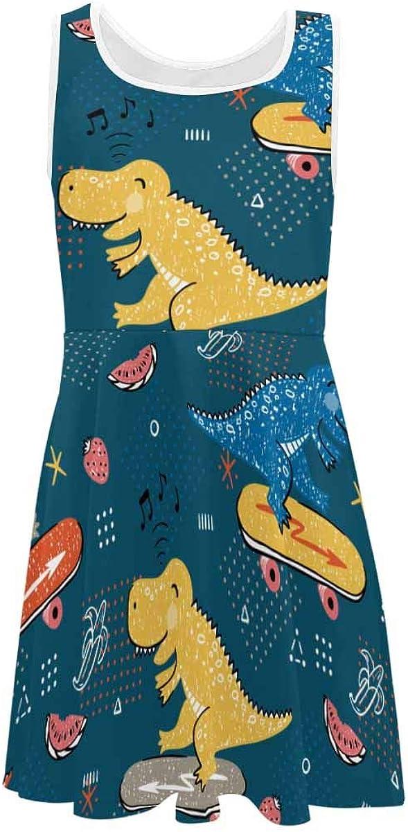 InterestPrint Girls Sleeveless Round Neck Dress Casual Party Dress Camper Pattern (2T-XL)