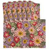 Juego de Mantel Individual Vintage de Flores de Girasol Colorido de 6 tapetes de Mesa Lavables Resistentes al Calor para Cocina Comedor Decorativo