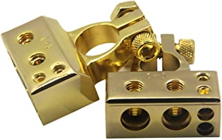ZOOKOTO 2 Pcs 4/8 Awg Positive & Negative Battery Terminal Platinum for Auto Car Audio Modification (Gold Plated)