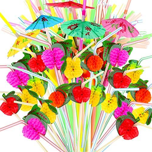 YGDZ 100pcs Umbrella Straws Fruit Straws, Disposable Luau Party Drink Umbrella Straws, Tropical Hawaiian Straws Beach Summer Pool Party Decorations