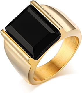onyx mens gold rings