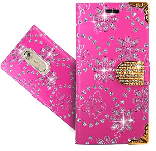 ZTE Axon 7 Mini Handy Tasche, FoneExpert® Bling Luxus Diamant Wallet Hülle Flip Cover Hüllen Etui Hülle Ledertasche Lederhülle Schutzhülle Für ZTE Axon 7 Mini
