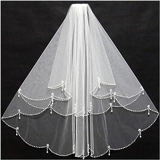 RLYBDL Elegant Short Ivory Bridal Veils Beading Edge Ruffles with Insert Comb Cheap for Wedding Bride Wear (Color : Ivory)