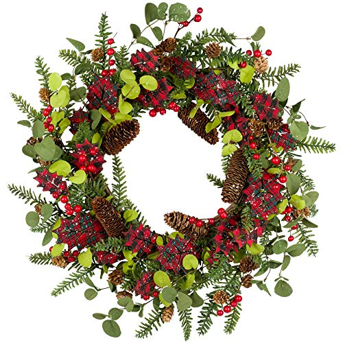 VGIA 20 Inch Christmas Wreath Winter Wreath for Front Door Christmas Decorations Wood Leaves Wreath with Black and red Buffalo Check Christmas Holiday Decorations Berries and Pine Branches Pine Cone