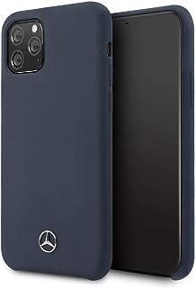 جراب من السيليكون السائل بتصميم مرسيدس بنز لهاتف ايفون 11 برو - كحلي