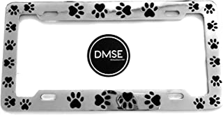 DMSE Animal Paws License Plate Frame For Your Car Automobile Easy Installation Durable Universal Fit (Chrome Plated With Black Paw) Pet Dog Cat