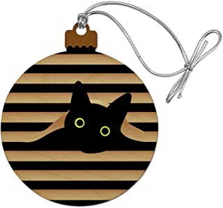 GRAPHICS & MORE Black Cat in Window Wood Christmas Tree Holiday Ornament