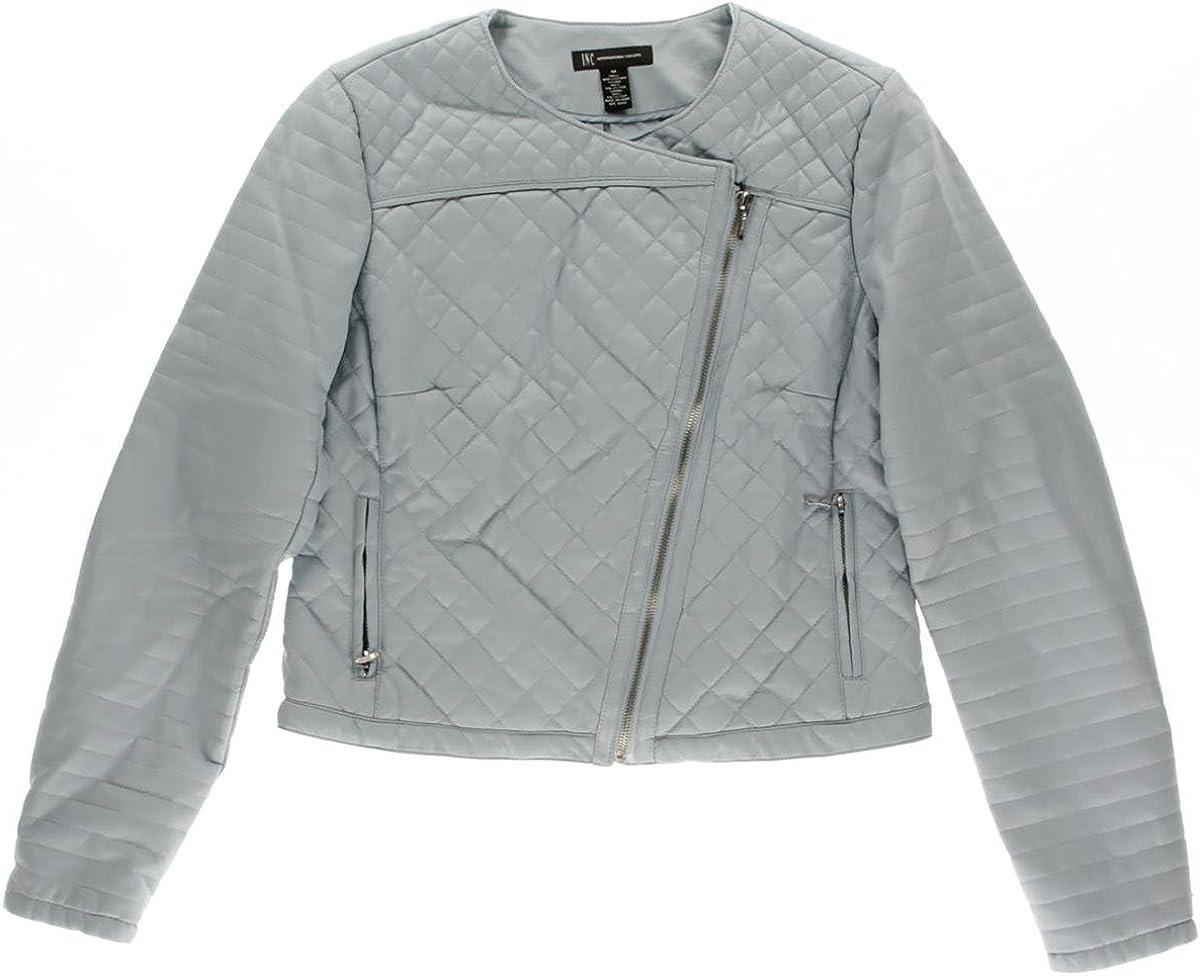 Inc International Concepts Quilted Faux Leather Moto Jacket Plus Size L Sky Blue Breeze