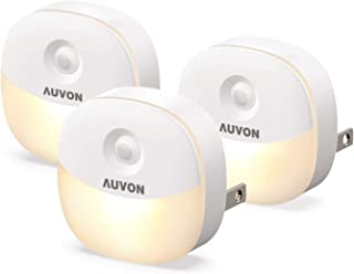 AUVON Plug-in LED Night Light, Mini Warm White LED Plug in Nightlight with Automatic Dusk to Dawn Sensor and Adjustable Brightness for Bedroom, Bathroom, Kitchen, Hallway, Stairs (3 Pack)