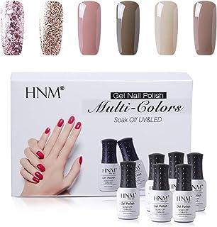 HNM Esmaltes Semipermanentes de Uñas en Gel UV LED 6 Colores Nude Esmaltes de Uñas para Manicura 004