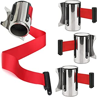 Stainless Steel Stanchion Queue Barrier Belt, Wall Mounted Red Post Retractable Ribbon Safety/Security Barrier Belt, 2m/3m/5m