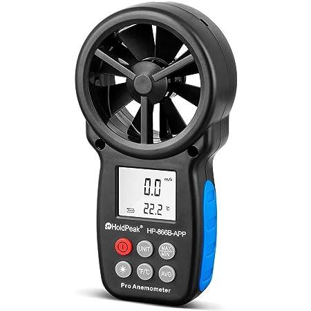 HOLDPEAK Anemometro Digitale Misuratore HP-866B-APP Velocità del Vento con connessione Bluetooth Senza Fili per Misurare il Volume dell'aria Velocità del vento Temperatura, la Navigazione in Volo,Tiro