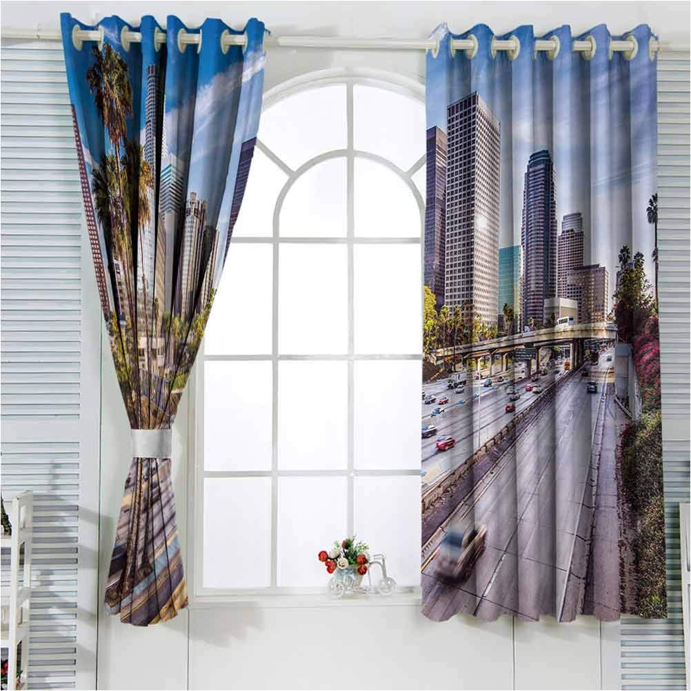Max 88% OFF Travel Kids Blackout Curtains Downtown Los of Angeles Cityscape Genuine Free Shipping
