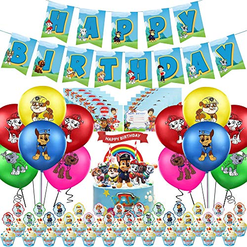 55 PCS Paw Dogs Patrol Geburtstag Dekoration Set,Paw Patrol Party Supplies,Cake Toppers, Hunde Latex Luftballons,Einladungskarte,Paw Dogs Patrol Thema Kindergeburtstag Deko