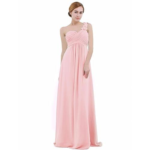 Long pink chiffon maxi dress