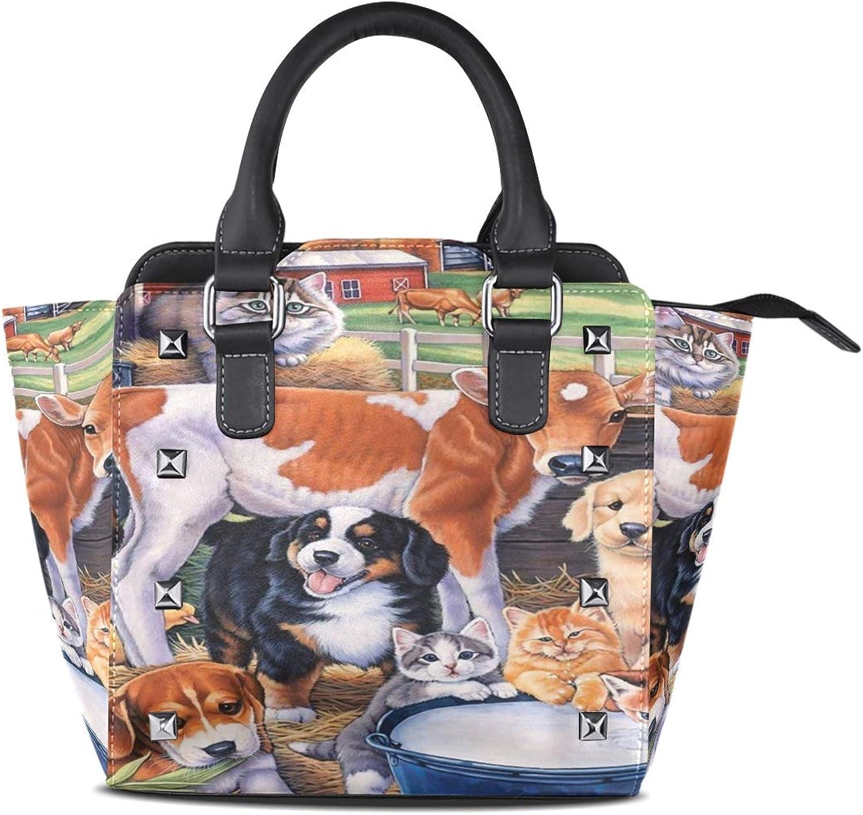 Hills Women Leather Studded Bags Shoulder Bags Tote Bag Handbags