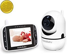 HelloBaby Baby Video and Audio Monitor with 3.2'' LCD Display Pan/Tilt/Zoom Remote Camera, Two-Way Talk, Video-Off / Power Saving, Night Vision, Lullabies, Temperature Monitoring, HB65