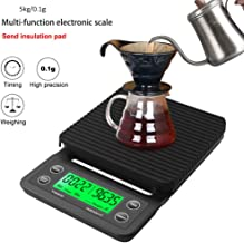 3kg/0.1g 5kg/0.1g Drip Coffee Scale with Timer Portable Electronic Digital Kitchen Scale High Precision LCD Electronic Scales Electronic Scale (Color : Black, Size : 5KG/0.1G)