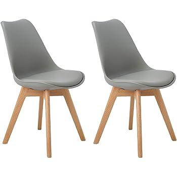 DORAFAIR Pack de 2 sillas escandinava Estilo nórdico Silla de Comedor,Tulip Comedor/Silla de Oficina con Las piernas de Madera de Roble Maciza,Gris: Amazon.es: Hogar