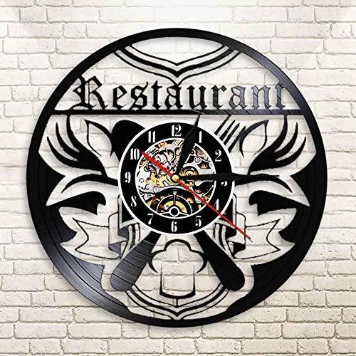 TJIAXU Restaurante Negocio Reloj de Pared Arte Cocina Disco de Vinilo decoración de la Pared Comida Chef Gourmet Regalo Cuchillo y Tenedor Reloj
