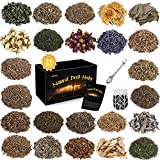 Dried Herbs for Witchcraft, 29Pcs Witchcraft Supplies for Spells, Witch Stuff with Crystals Spoon for Wicca, Pagan, Rituals, Altar