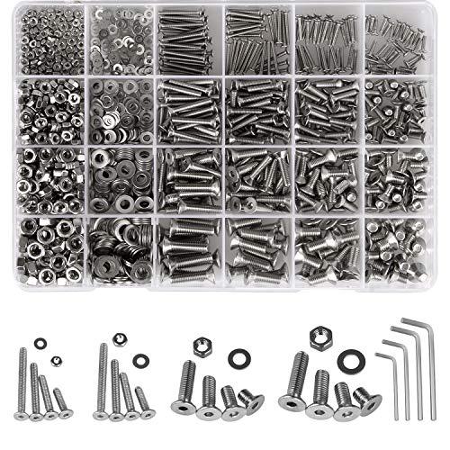 Hakkin 1220 Stück Schrauben Muttern Set, M2 M3 M4 M5 Edelstahl Schrauben Flachkopfschrauben und Unterlegscheiben Sortiment Kit mit 4 Sechskantschlüssel (Silber)