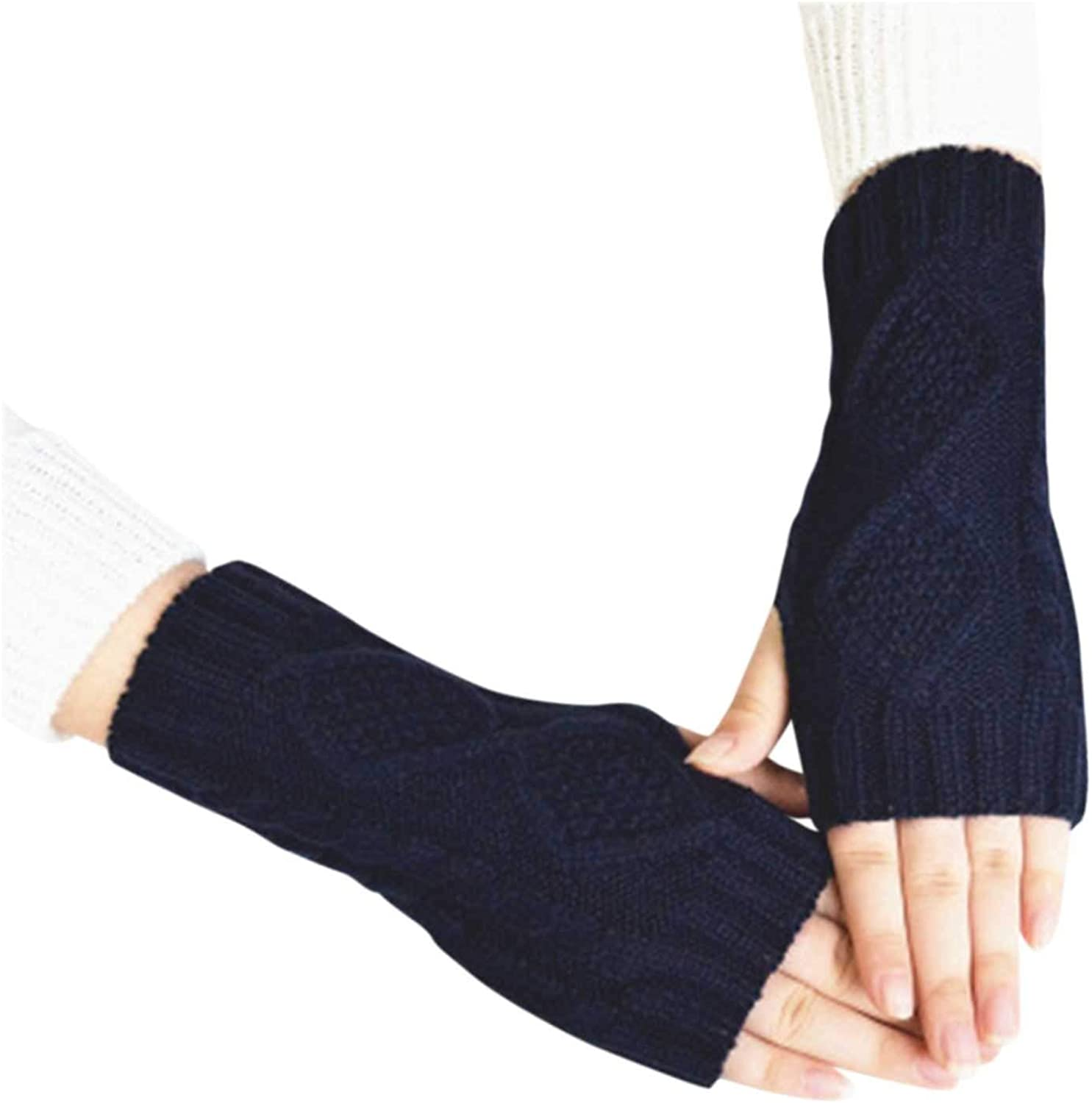Fingerless Warm Gloves with Thumb Hole Cozy Half Finger Driving Gloves Knit Arm Warmer Mittens for Women