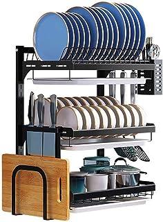 rangement et organisation de cuisine Vaisselle Etendoir, 3 niveaux en acier inoxydable égouttoir avec support Ustensile, c...