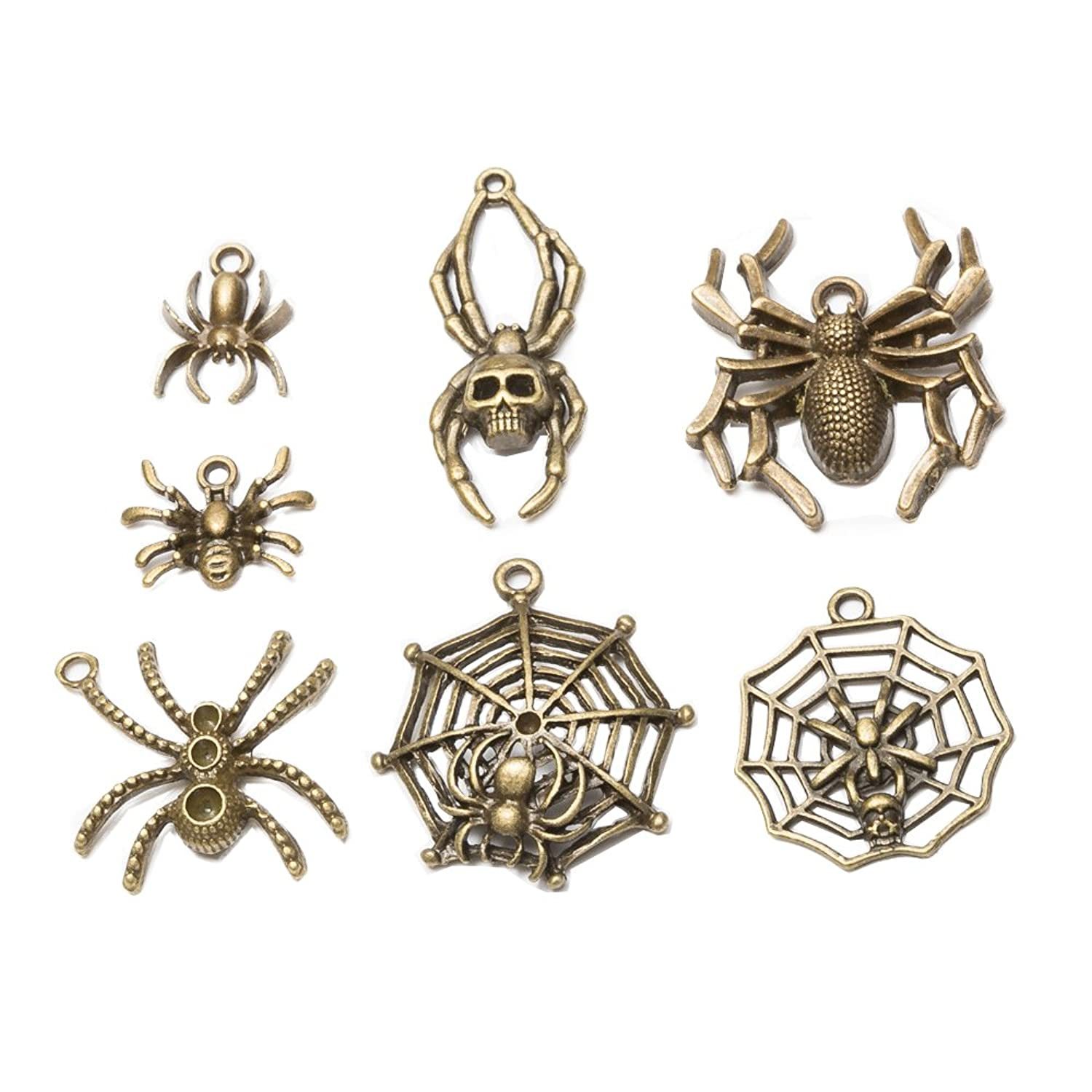 14 pcs Mixed Antique Bronze Plated Zinc Alloy Metal Charms Spider Pendants for DIY Jewelry Making Findings(14pcs-Spider)