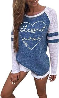 c4f10f9f0660e MORCHAN Femmes Dames Chat Impression T-Shirt à Manches Longues Tops Blouse