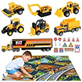 OENUX Diecast Construction Vehicle Toy Set & Play Mat,Carrier Truck,Alloy Metal Tractor,Excavator,Road Roller,Dump Truck,Bulldozer,Forklift,Ideal Toddlers Toy Car for Kids Boys Girls