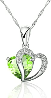 925 Silver Necklace Adjustable Chain and Light Green Crystal Heart Pendant – Handmade with Sparkling Double Heart Silver and Crystal Like Pendant in Various Stunning Colors. Designed in England.