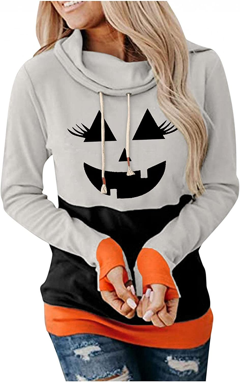 AIHOU Halloween Sweatshirts for Women Loose Drawstring Pullover Hoodies Funny Pumpkin Face Colorblock Long Sleeve Casual Tops