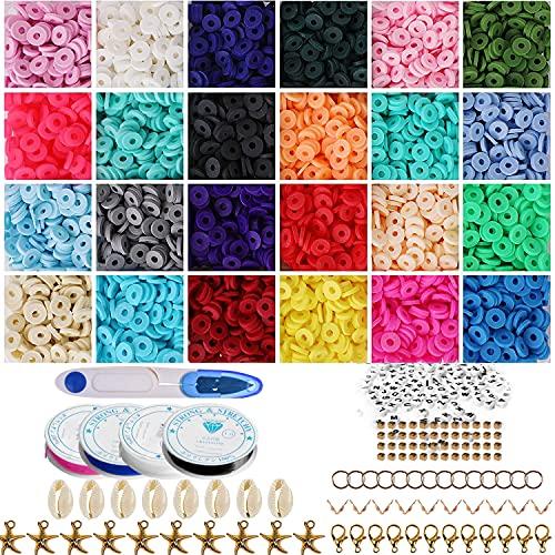 Flymind 5200 cuentas planas, 6 mm, 24 colores, redondas, planas, arcilla de polímero, para hacer joyas, joyas, pendientes, pulseras, pendientes, kit de manualidades con colgante y anillos de salto