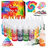 Tie Dye Kit, 32 Colors Fabric Dye Set for Adults and Kids, 203 Pack All-in-1 DIY Tie Dye with Pigments, Rubber Bands, Gloves and Table Covers for Craft Arts Supplies Group Party