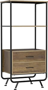 HOMECHO Industrial Storage Cabinet with Shelves and Drawers, Multi Drawer Cabinet Modern Bookcase Organizer Unit for Living Room, Bed Room, Study, Kitchen, Rustic Brown