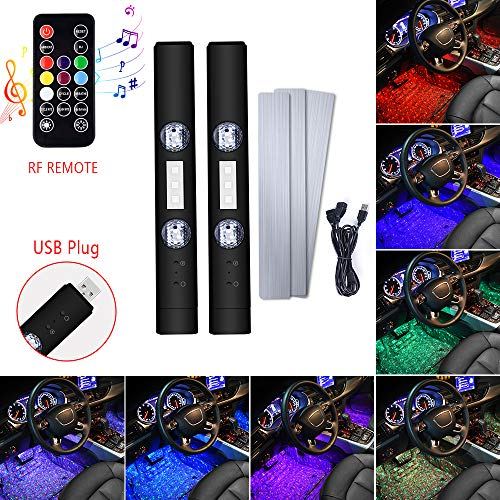 1797 LED USB Car RGB Interior Lights Wireless Lamps Strip Multi Color Music Sound Sync Accessories Ground Kits Under Dash Lighting RF Remote Control Red Yellow Blue Purple Pink Cool 12V Pack of 2