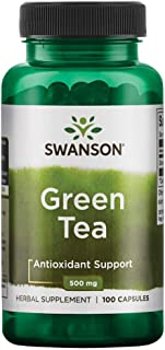 Swanson Green Tea Extract Supplement: 500 MG Green Tea Leaf Powder - Antioxidant Rich Supplements to Aid Weight Management - 100 Capsules