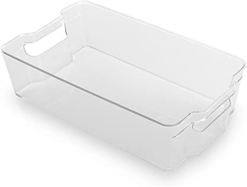 BINO Stackable Rectangular Plastic Storage Organizer Bin, X-Large - Clear and Transparent Nesting Container for Home ...