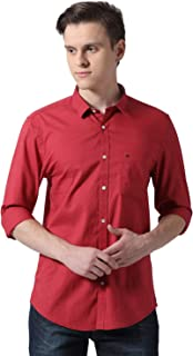 Peter England Men's Solid Slim fit Casual Shirt (PCSFCSSPI68794_Red_36)