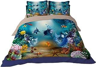 RuiHome 4Pcs Ocean Theme Bedding Duvet Cover Set, Full Size - Under The Sea Printed Design