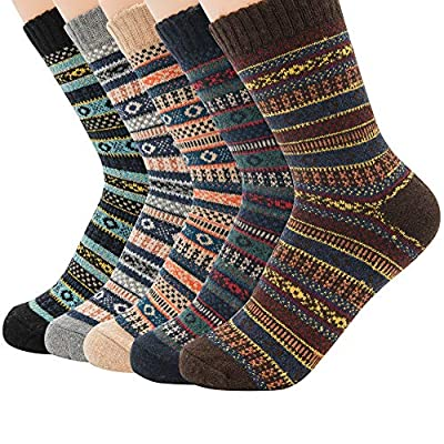 Zando Mens Warm Thick Socks Cozy Wool Sock Comfort Mid Calf Sock Winter Athletic Socks Vintage Cashmere Sock Hiking Crew Socks Cabin Sock 5 Pairs Stripe One Size