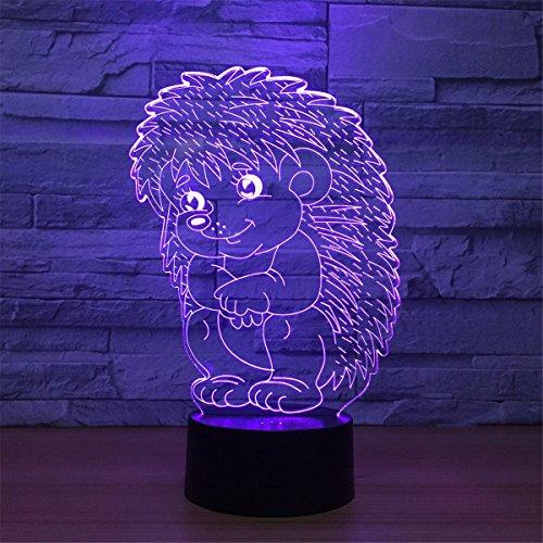 3d Puercoespín luz nocturna 7 Cambia Color Touch Interruptor Decoración de mesa lámparas regalo de Navidad