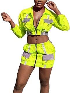 Remxi Women Fashion Letter Print Reflective Jacket Crop Top Zipper Mini Skirt Two Piece Outfit Tracksuit Clubwear