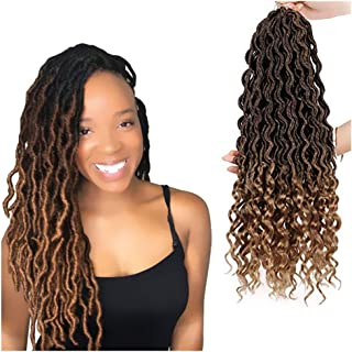 Naiflowers 6Pcs Lot Goddess Faux Locs Crochet Hair with Curly Ends Deep Wave Braiding Hair with Curly Ends Crochet Goddess Locs Synthetic Braids Hair Extensions for Party Display,18inch (B)