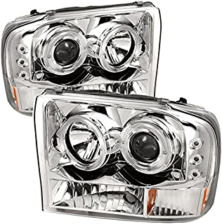 For 1999-2004 F250 F350 F450 F550 SuperDuty Excursion Chrome Clear Dual Halo Projector Headlights Replacement Pair