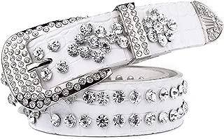 Jeans Belt for Women Stylish Luxury Hand-Studded Decorative Belt. (Color : White)