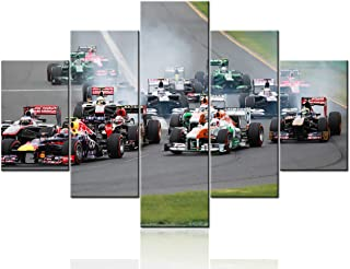 Canvas Print Wall Art Painting for Home Decor the Racing Day at Formula 1 Grand Prix 5 Pieces Paintings Modern Giclee Stretched and Framed Artwork the Picture for Living Room Decoration - 60``Wx40``H