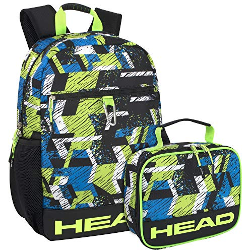 Sport Backpack with Lunch Cooler for Men – Blue and Green Backpack Set for Boys and Men for College, Hiking, Travel