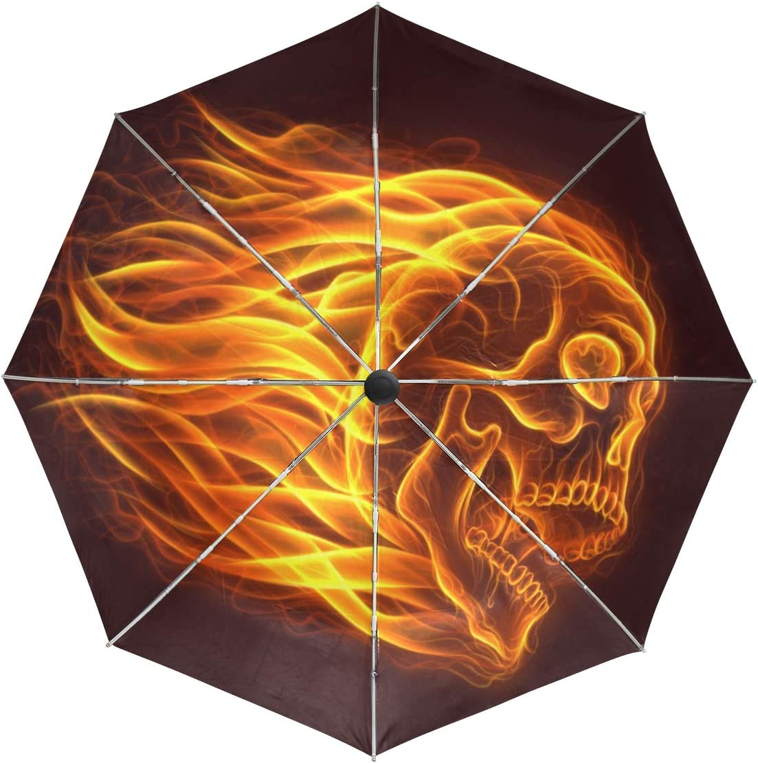 Max 81% OFF Wamika Fire Skull Head Automatic Bombing new work Day Compact Windproof Umbrella